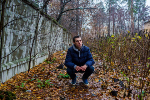 Anton Basenko poses for a portrait in an area known for being used by injection drug users on Friday, November 20, 2015 in Kiev, Ukraine.
