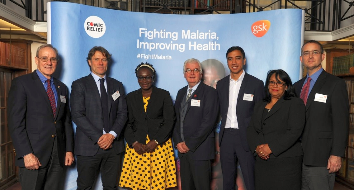 L-R Dr David Brandling-Bennett (Bill & Milinda Gates Foundation), John Bishop, Maurine Murenga (Global Fund Advocates Network, Kenya), Kevin Cahill CBE (CEO, Comic Relief), Ramil Burden (VP for Africa and Developing markets, GSK), Baroness Verma Parliamentary Under Secretary of State for International Dvelopement and Prof. David Schellenberg (London school of Hygiene & Tropical Medicine) together announce a five-year partnership to fight malaria and improve health in countries worst affected by the disease at The Science Museum, London. The two organisations are teaming up in support of global efforts to strengthen health systems' capabilities to fight malaria – a disease which still claims almost half a million lives every year, mostly in children under five living in sub-Saharan Africa.